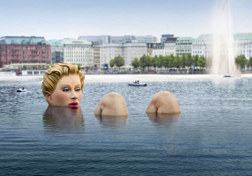 Giant Woman Sculpture Alster Lake