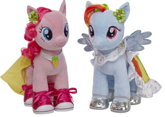 Pinkie Pie and Rainbow Dash My Little Pony plush toys at Build-A-Bear