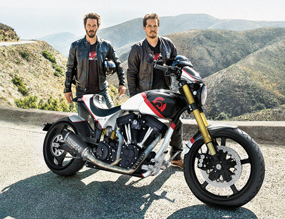 Keanue Reeves and Gard Hollinger with Arch KRGT-1 motorcycle
