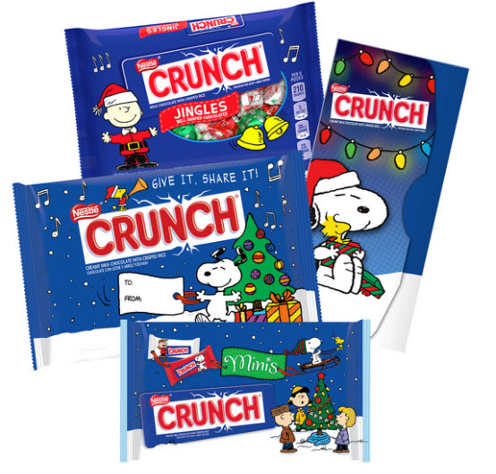 Peanuts holiday wrappers on Nestle Crunch bars