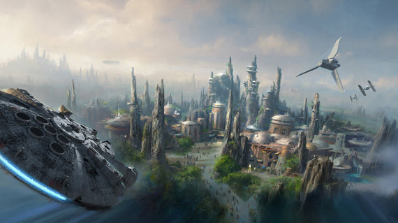 Concept art for Star Wars themed land at Disney parks