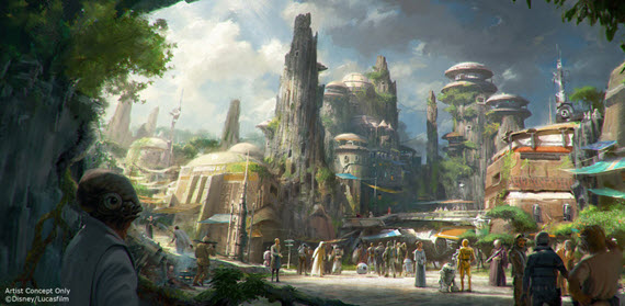 Concept art for Star Wars trading port at Disney parks