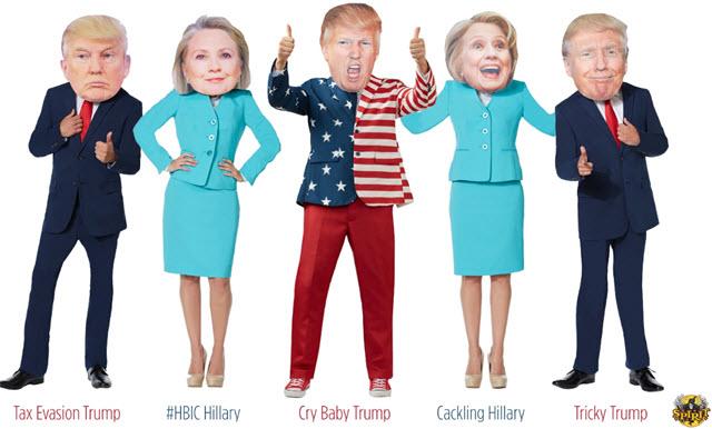 Donald Trump and Hillary Clinton Halloween masks from Spirit Hallowee