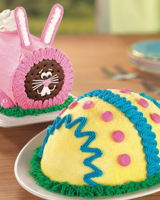 Easter Egg and Bunny Roll cakes at Baskin-Robbins