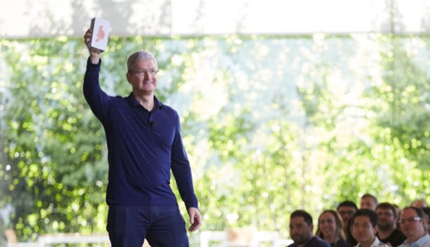 Tim Cook holding the iPhone