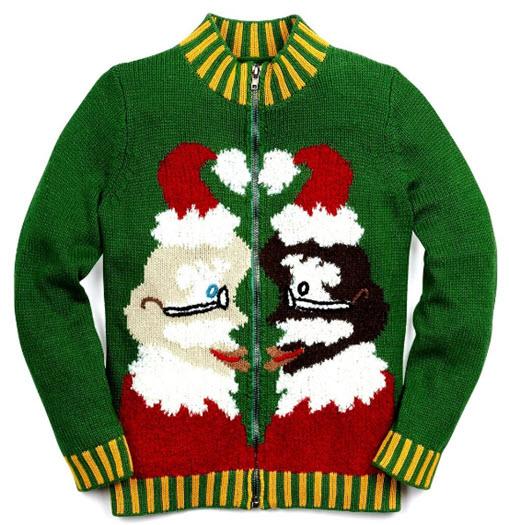 Whoopi Goldberg Santas kissing Ugly Christmas Sweater