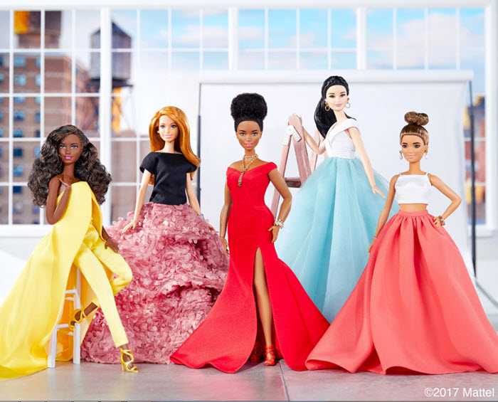 Christian Siriano with his Resort 2018 Barbie Fashionistas