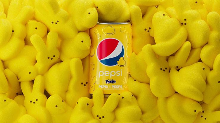 Peeps surrounding a yellow Pepsi x Peeps can